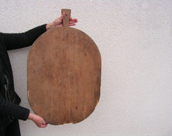 Antique Wooden Bread Board Large Bakery Dough Board with Handle Primitive Big Board Rural wooden board baker Rustic Kitchen
