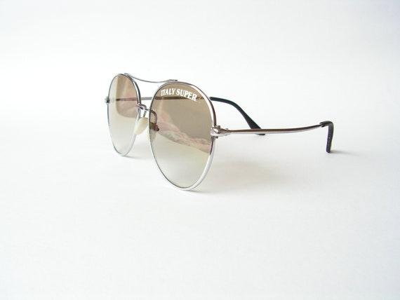 Men sunglasses green lenses POLAROID Retro aviator sunglasses 1980s Vintage pilot glasses Metal frame sunglasses Oversize sunglasses
