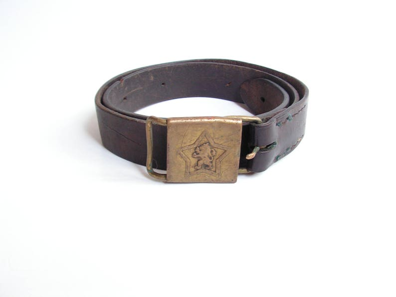 7ff2def495f Ceinture en cuir Vintage cuir marron militaire ceinture homme