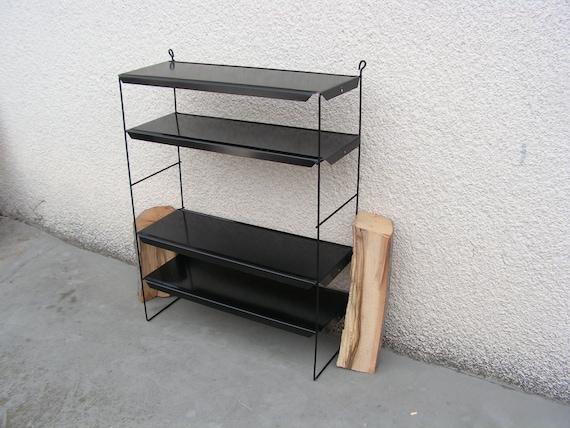 low priced 9c10d 8f136 Vintage small metal shelving for wall NEVER USED Metal black shelf 4 shelfs  Book shelves Wall shelf book String Shelves Nisse strinning