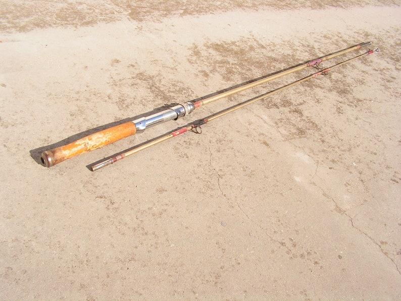 Fishing Pole Fishing Rod Wood Handle Vintage Fishing Rod Of 2 Parts Fly Fishing Soviet Fishing Rod Fishing Collectible Fishing Gift