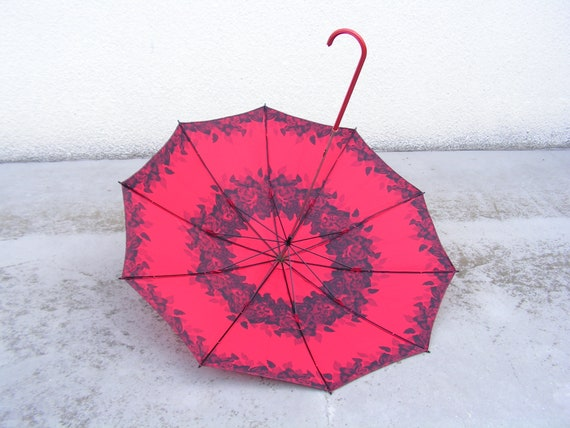 Vintage ladies stylish umbrella Red black woman um