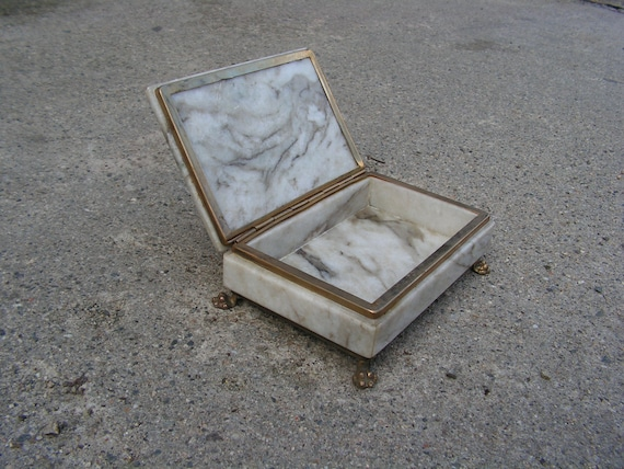 Vintage Onyx or Marble Covered Trinket Box with Scalloped Edge and Lid