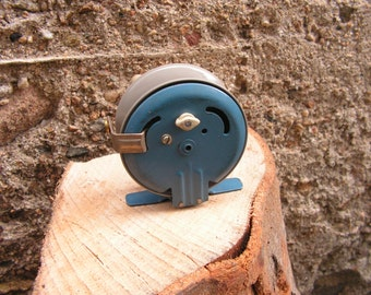 Vintage fishing reel, 1960s Fishing, restaurant decor, Traditional fishing , Blue fishing reel, Spinning Reel, Old Spinner