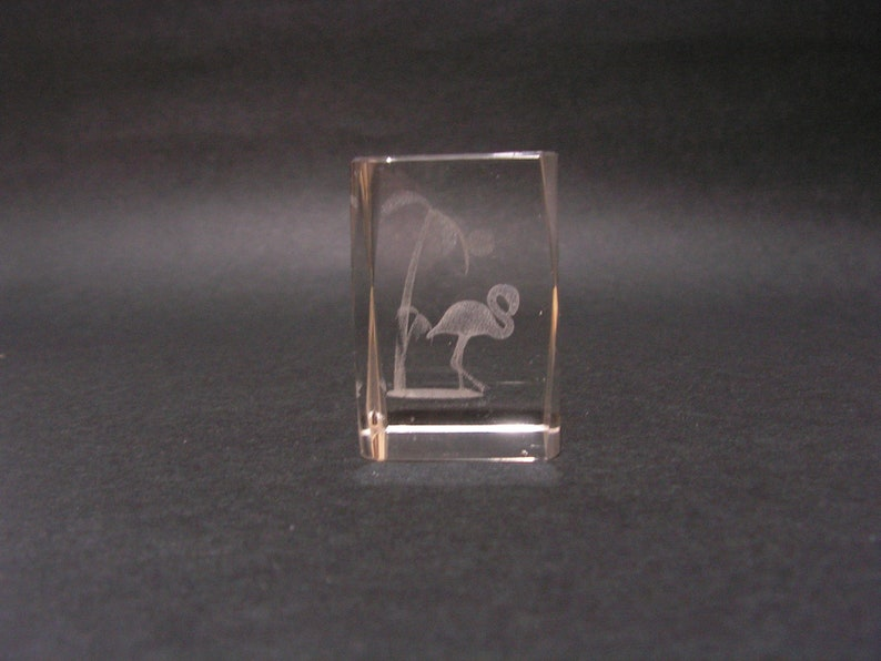 Laser \u0435ngraved crystal flamingo \u0415ngraved glass paperweight Beautifully paperweight Etched flamingo palm tree
