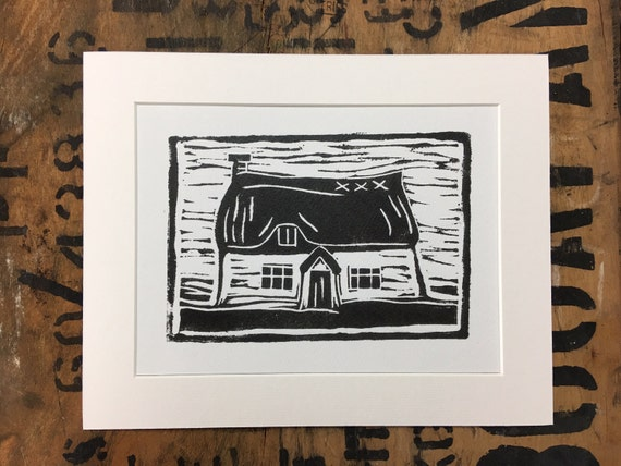 Thatch Mounted Print • Cottage Print • Thatched Cottage Print • English Cottage • Country Cottage • Cottage Illustration • Cottage Art