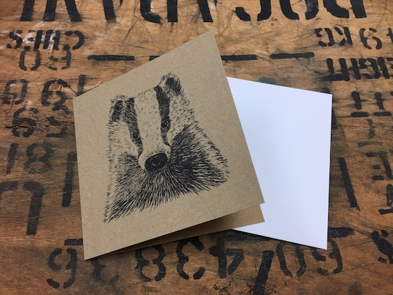 Badger Card • Badger Etching Print • Badger Illustration • Badger Art • Badger Greeting Card • British Wildlife Card • Card For Badger Lover