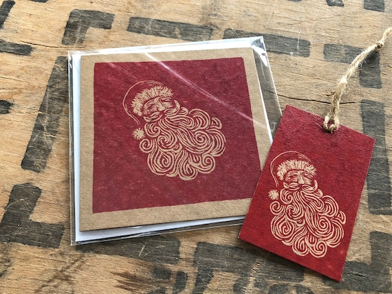 Christmas Card and Matching Gift Tag • Lino Print Cards • Christmas Tree Card • Robin Christmas Card • Partridge Christmas Card