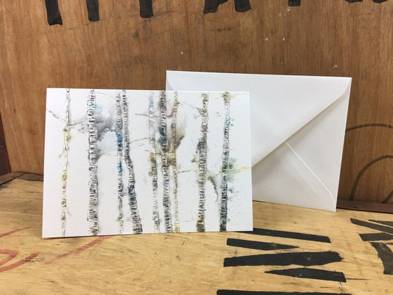 Birch Tree Card • Birch Tree Print • Birch Tree Art • Birch Illustration • Silver Birch • Birch Tree Greeting Card • Card For Nature Lovers