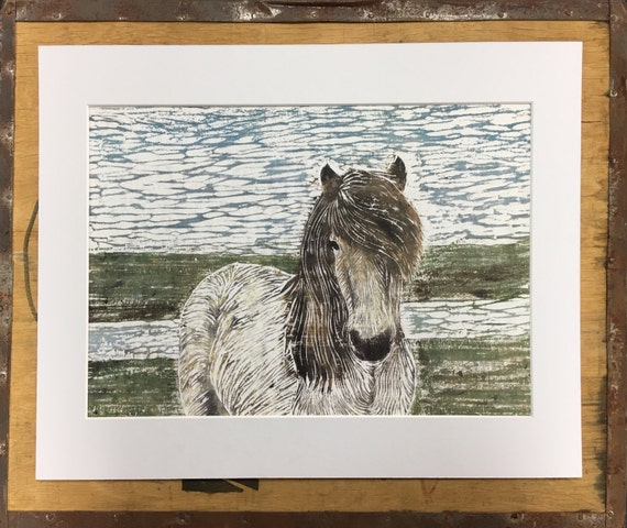 Pony Mounted Print • Pony Litho Print • Pony Illustration • Pony Wall Art • Pony Art • Horse Print • Wildlife Decor • Gift For Pony Lovers