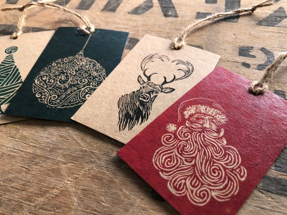 Hand Printed Xmas Gift Tags • Lino Print Cards • Christmas Tree Card • Robin Christmas Card • Partridge Christmas Card • Christmas Star Card