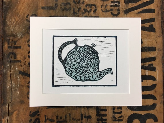 Teapot Mounted Print • Teapot Lino Print • Teapot Illustration • Tea Wall Art • Tea Art • Kitchen Art • Kitchen Decor • Gift For Tea Lovers
