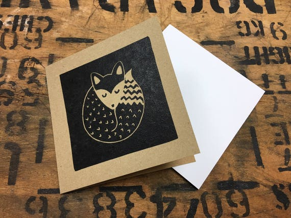 Fox Card • Fox Lino Print • Fox Art • Sleeping Fox • Fox Greeting Card • Fox Birthday Card • British Wildlife Card • Card For Fox Lovers