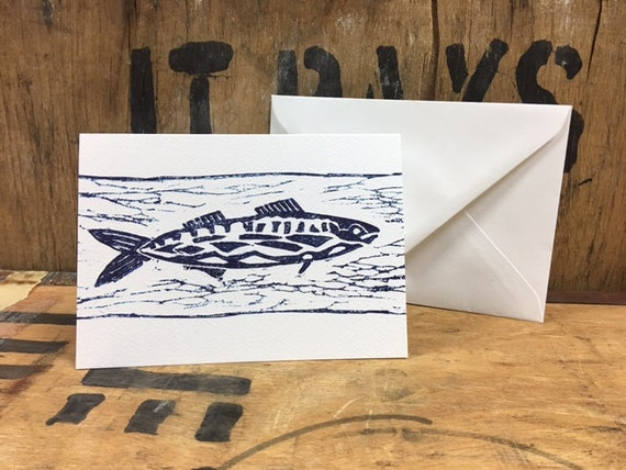 Mackerel Card • Mackerel Lino Print • Mackerel Art • Mackerel Greeting Card • Mackerel Birthday Card • Card For Fisherman And Fishing Lovers