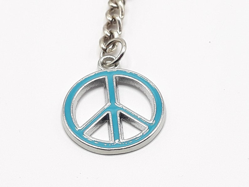 In Various Colour Peace Sign  Keyring