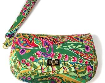 Green paisley wristlet clutch paisley purse with zipper pocket twist lock closure blue purse small purse small bag wristlet bag