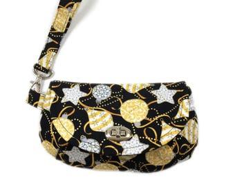 Holiday wristlet - purse with zipper pocket - twist lock closure - black and gold purse - small purse - small bag - wristlet bag
