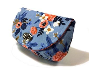 Women's clutch blue clutch purse with zipper pocket silver tone twist lock hardware evening clutch peach floral on periwinkle blue