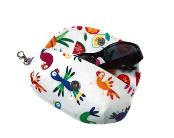 Women's sunglass holder tropical theme sunglass case mini clutch case for glasses eyeglass case lens cleaner liner & side clasp