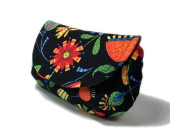 Women's clutch black clutch purse with zipper pocket gold tone twist lock hardware evening clutch orange floral on black