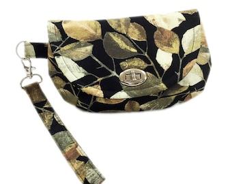 Wristlet clutch falling leaves wristlet purse with zipper pocket twist lock closure black and gold purse small purse small bag wristlet bag