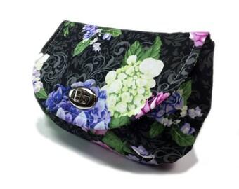 Women's clutch black clutch purse with zipper pocket silver tone twist lock hardware evening clutch hydrangea floral on black