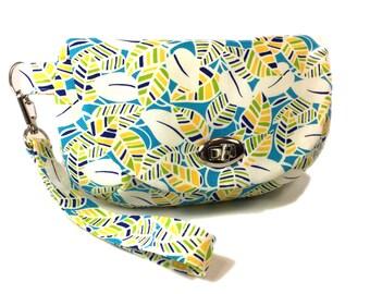 Wristlet clutch blue tropical leaf print purse with zipper pocket twist lock closure blue purse small purse small bag wristlet bag