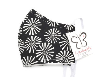 Adult washable black & white floral print face mask 100% cotton with non-woven third layer