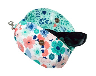 Women's sunglass holder bright floral print sunglasses case mini clutch case for glasses eyeglass case with microfiber liner and side clasp