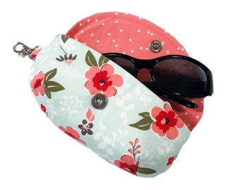 Women's sunglass holder mint and coral floral sunglasses case mini clutch case for glasses eyeglass case lens cleaner liner and side clasp