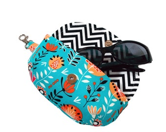 Women's sunglass holder turquoise and coral floral sunglass case mini clutch case for glasses eyeglass case lens cleaner liner & side clasp