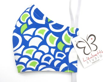 Adult washable blue and green geometric print face mask 100% cotton with non-woven third layer