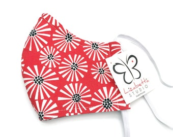 Adult washable coral floral print face mask 100% cotton with non-woven third layer
