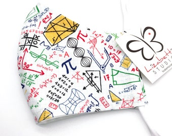 Adult washable math equations print face mask 100% cotton two layers with soft ear loop elastic