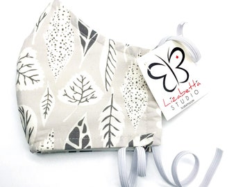 Adult washable leaves on grey print face mask 100% cotton with non-woven third layer
