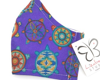 Adult washable southwest desert terrapin print on purple face mask 100% cotton two layers with soft ear loop elastic
