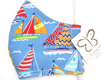Adult washable sailboat nautical print face mask 100% cotton two layers with soft ear loop elastic