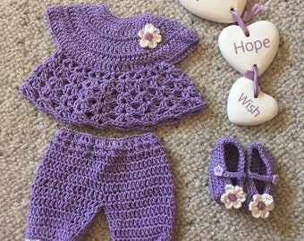 Preemie crochey purple outfit set