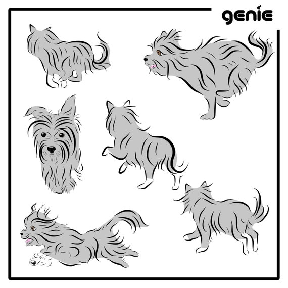 Yorkshire Terrier Yorkie Dog Vector Graphic Illustration Hand Etsy