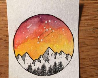 Leo Constellation Mountain Galaxy Watercolor