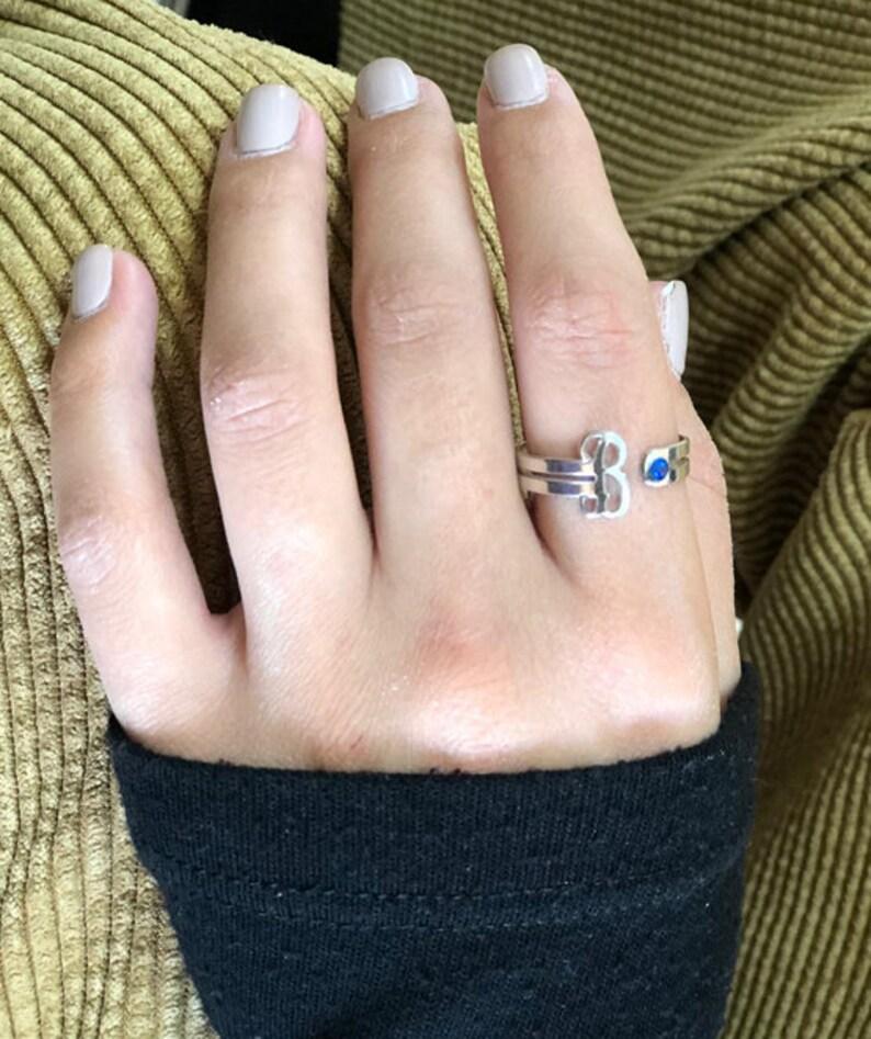 925 silver sterling monogram letter Ring