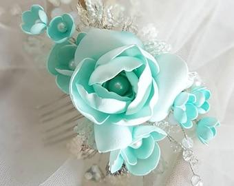 Mint Green Bridal hair comb, Wedding hair comb, Bridal headpiece, Wedding headpiece, Bridal hair piece, Wedding hair piece
