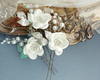 Flower Bridal Hair Pins, Bridal Hair Piece, Bridal headpiece, Wedding headpiece, Wedding hair piece, Bridal head piece