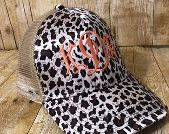 Monogrammed Glitter or Cheetah High Pony Tail Hat