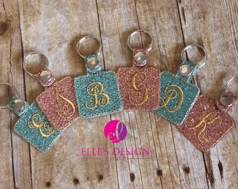 Embroidered Initial Glitter Keychain or Keyfob Gift
