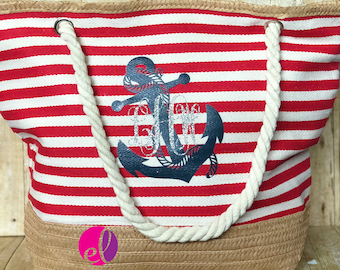 Red Striped Anchor Personalized Beach Bag or Tote with Rope Handles