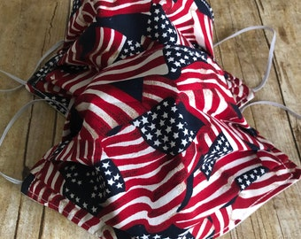100% COTTON FACE MASK for Men or Women - American Flag/Solid White - Washable, Elastic, Reusable, Reversible, and Pleated