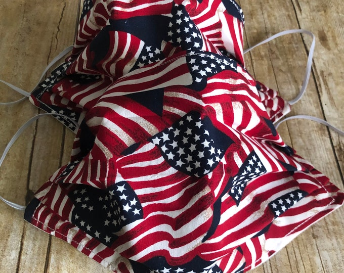 Featured listing image: 100% COTTON FACE MASK for Men or Women - American Flag/Solid White - Washable, Elastic, Reusable, Reversible, and Pleated