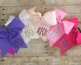 2 Bows Monogrammed with Hair Tie - School Bows - Christmas Bows - Monogramed Bows