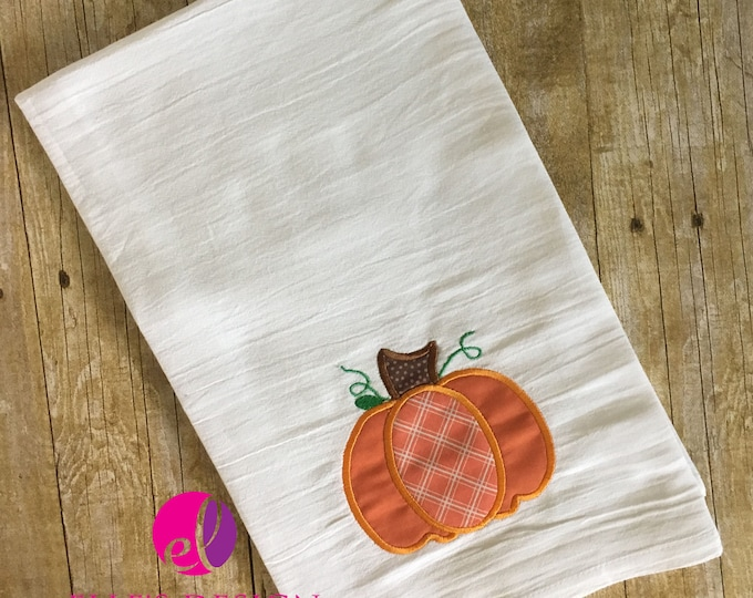Featured listing image: Applique or Vintage Embroidered Pumpkin Flour Sack Towel for Fall or Halloween Decor